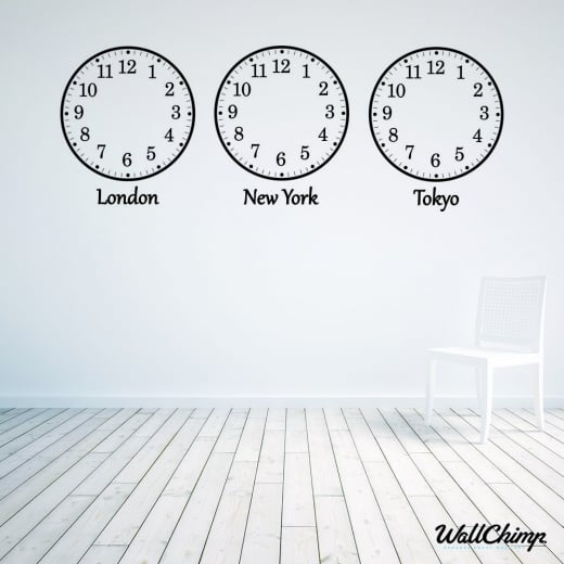 WallChimp Abigail Roberts Custom Time Zone Wall Sticker Clocks WC619QT