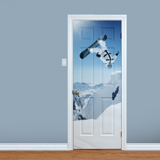 Back Flip Snowboarder Printed Door