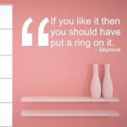 Beyonce Ring On It Wall Sticker Quote
