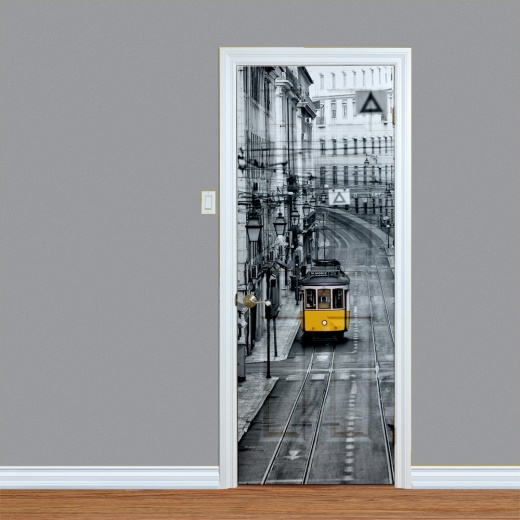 Black & White City Streets Printed Door
