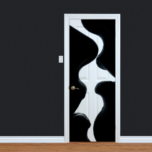 Black & White Kissing Printed Door