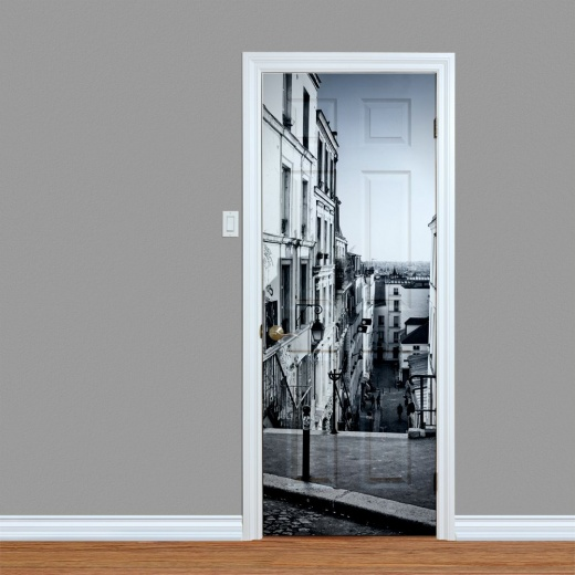 Black & White Streets Door Print