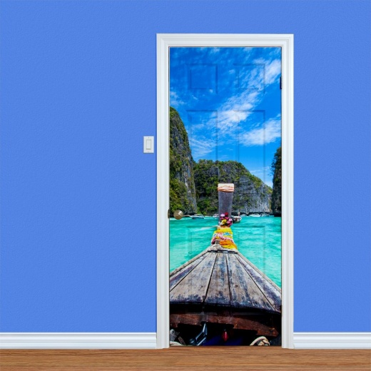 Blue Sea Boat Ride Printed Door