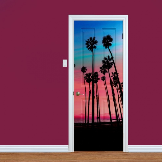 California Beach Palm Trees Printed Door