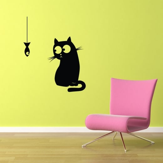 Cat & Fish Wall Sticker