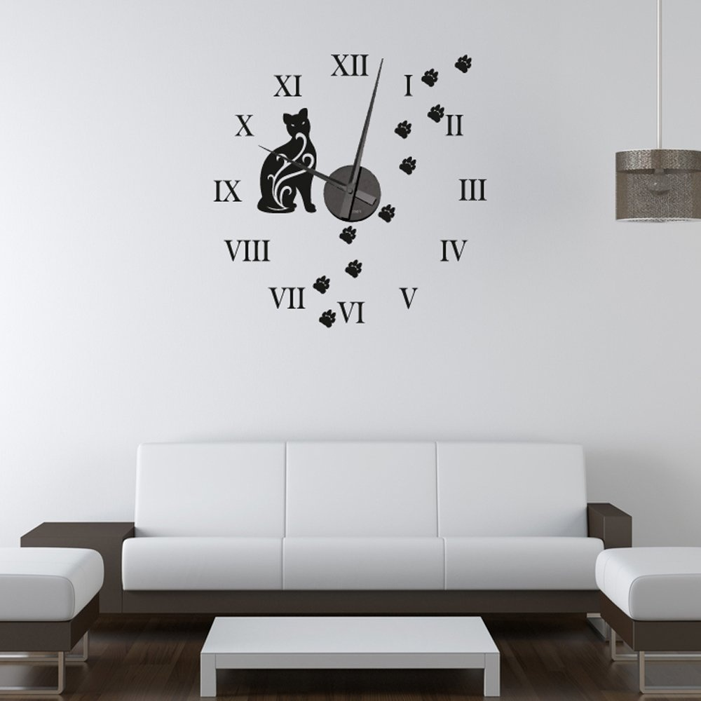 cat wall sticker clock wall chimp. Black Bedroom Furniture Sets. Home Design Ideas
