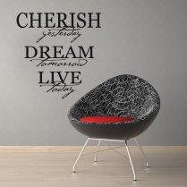Cherish, Dream & Live Wall Sticker Quote