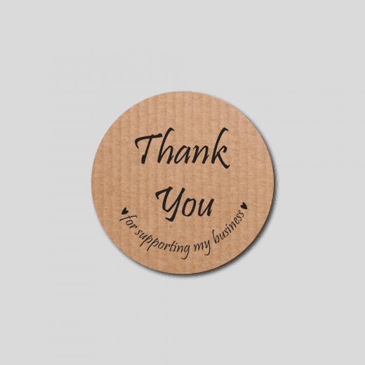 Craft Paper Style Thank You Round Stickers - Matt