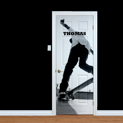 WallChimp Custom Skateboarder Name Printed Door