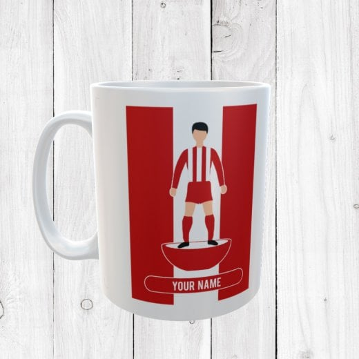 Dark Red & White Football Mug