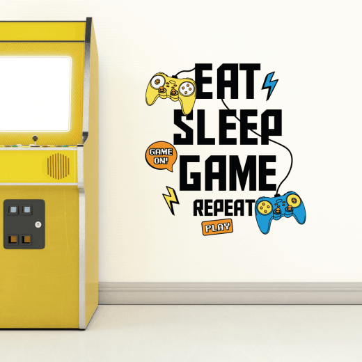 Eat Sleep Game Repeat Wall Sticker