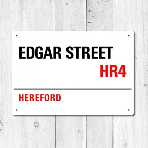 Edgar Street, Hereford Metal Sign