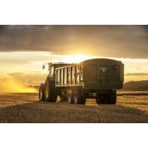 Farm Machinery Image - Featuring A John Deere Tractor & Bailey Trailer