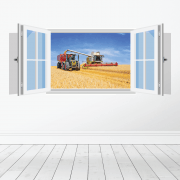 Farm Machinery Wall Sticker - Featuring Claas Combine And Tractor
