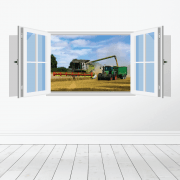 Farm Machinery Wall Sticker - Featuring Claas Combine & Fendt Tractor