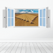 Farm Machinery Wall Sticker - Featuring Massey Ferguson Combines
