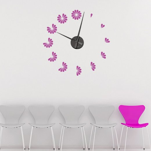 Flower Petal Wall Sticker Clock