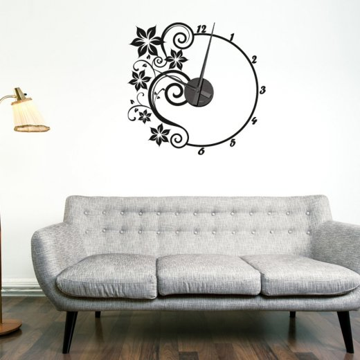 flower wall sticker clock - wall chimp