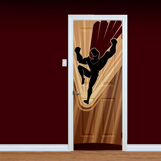 WallChimp Flying Superhero Printed Door