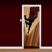 Flying Superhero Printed Door
