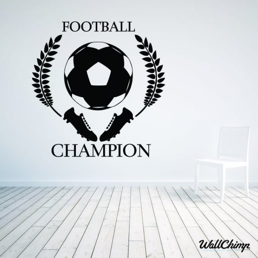 Football Champion Shield Wall Sticker
