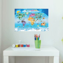 Fun Map Of The World Wall Sticker