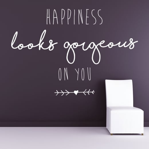 Happiness Looks Gorgeous On You Wall Sticker Quote