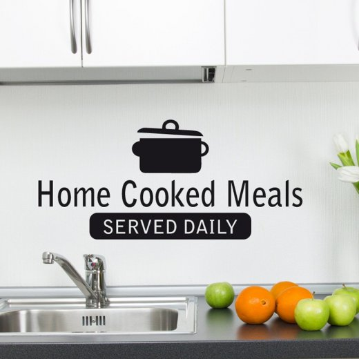 Home Cooked Meals Wall Sticker Quote