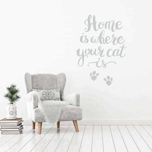 Home Is Where Your Cat Is Wall Sticker Quote