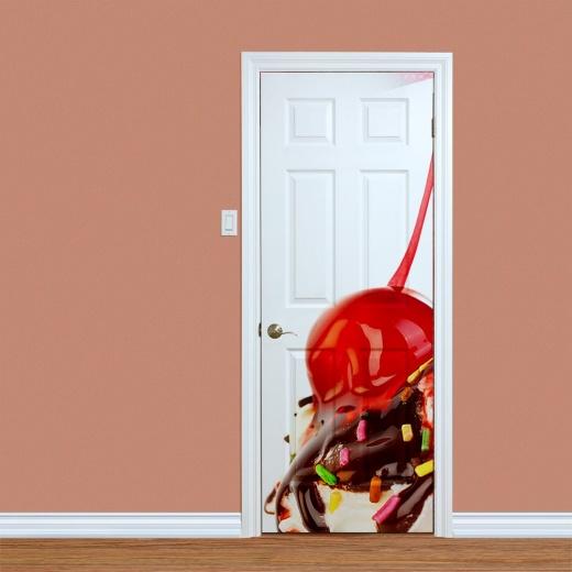 Ice Cream With Cherry Printed Door