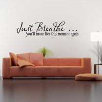 Just Breathe Wall Sticker Quote