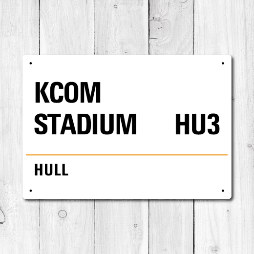 KCOM Stadium, Hull Metal Sign