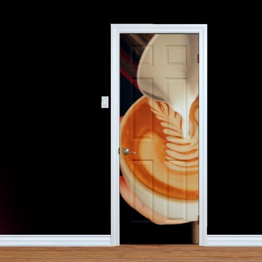 Latte Coffee Art Printed Door