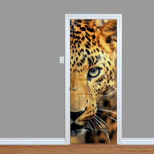 Leopard Head Printed Door Art