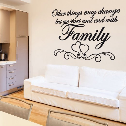 love heart family wall sticker quote - wall chimp uk.