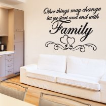 Love Heart Family Wall Sticker Quote