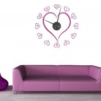 Love Heart Wall Sticker Clock