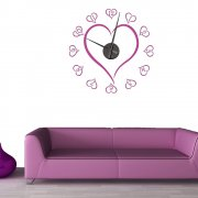 Love Heart Wall Sticker Clock