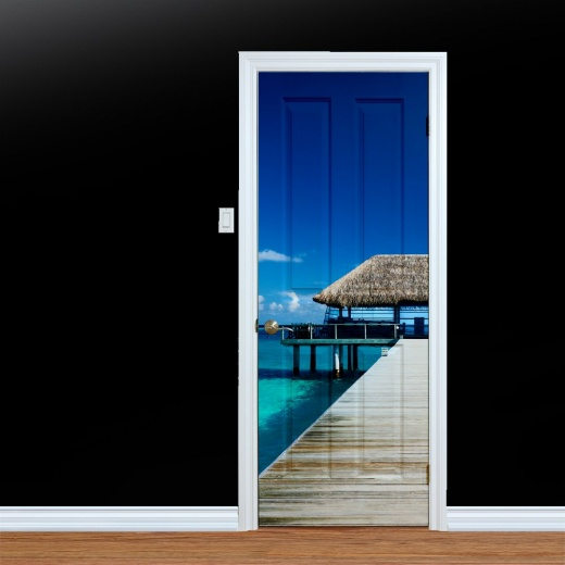 WallChimp Maldives Caribbean Shack Printed Door