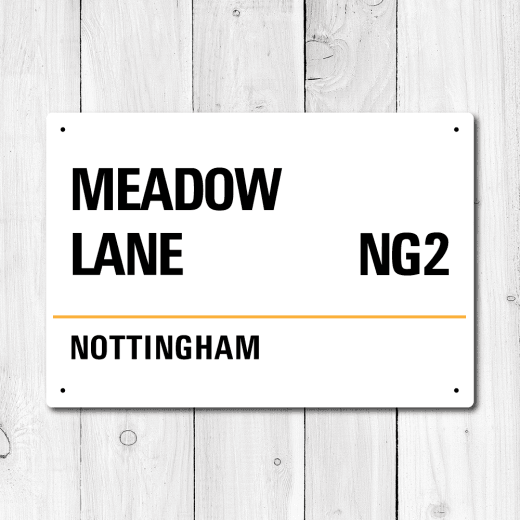 Meadow Lane, Nottingham Metal Sign