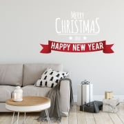Merry Christmas And Happy New Year (Two Colour) Wall & Window Sticker