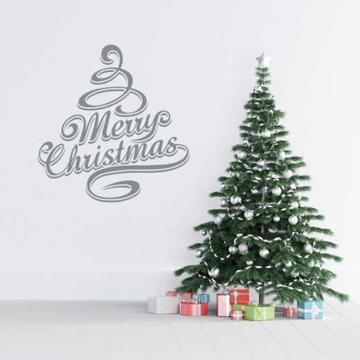 Merry Christmas Tree (Two Colour) Wall & Window Sticker