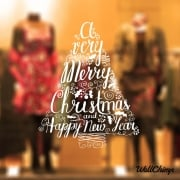 Merry Christmas Word Quote Tree Wall & Window Sticker