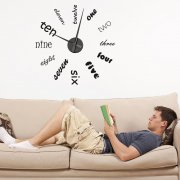 Modern Text Wall Sticker Clock