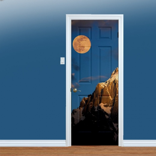 WallChimp Moon & Mountain Peak Printed Door