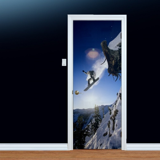 Mountain Snowboard Jump Printed Door