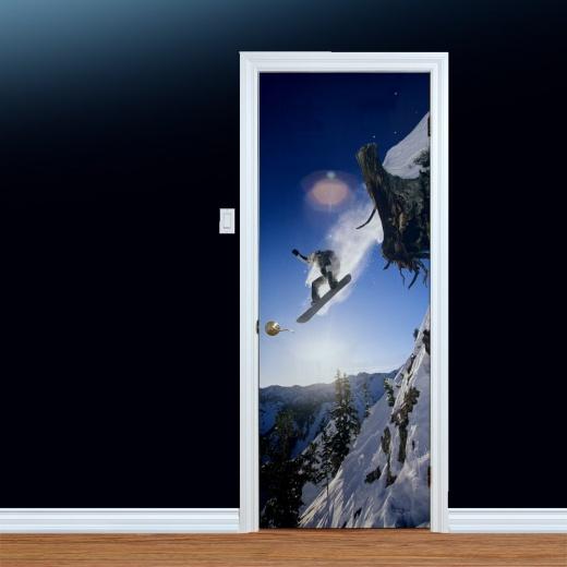 Mountain Snowboard Jump Printed Door