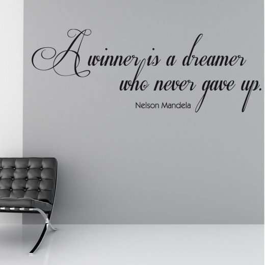 Nelson Mandela Winner Wall Sticker Quote