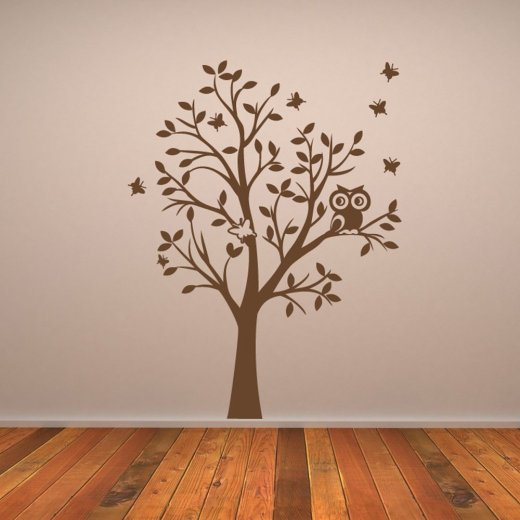 owl tree wall sticker wall chimp uk owl tree fabric wall sticker set by mirrorin