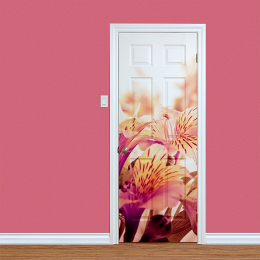 Peach Lilly Flowers Printed Door